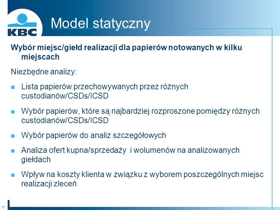 Model statyczny Wybór miejsc/giełd realizacji dla papierów notowanych w kilku miejscach. Niezbędne analizy: