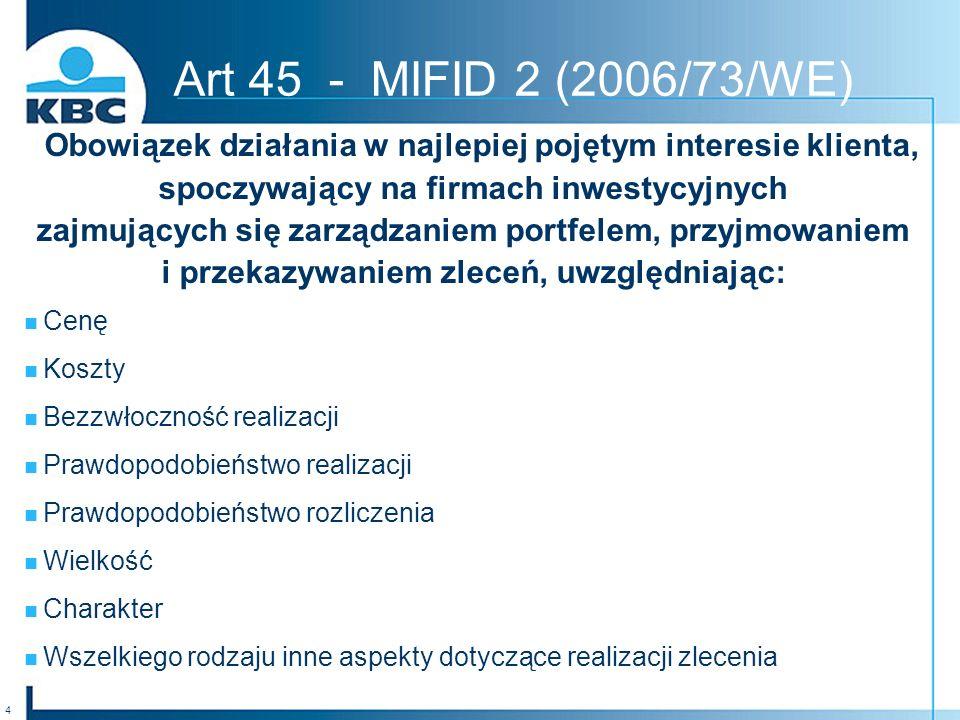 Art 45 - MIFID 2 (2006/73/WE) Obowiązek działania w najlepiej pojętym interesie klienta, spoczywający na firmach inwestycyjnych.