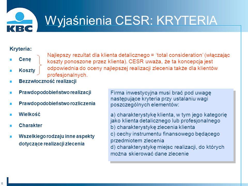 Wyjaśnienia CESR: KRYTERIA