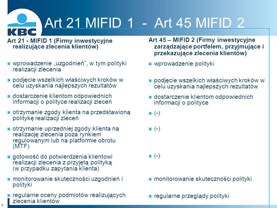 Art 21 MIFID 1 - Art 45 MIFID 2 Art 21 - MIFID 1 (Firmy inwestycyjne realizujące zlecenia klientów)