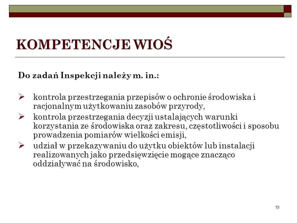 KOMPETENCJE WIOŚ Do zadań Inspekcji należy m. in.: