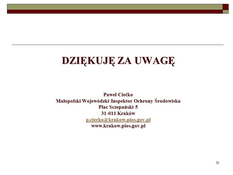 DZIĘKUJĘ ZA UWAGĘ Paweł Ciećko Małopolski Wojewódzki Inspektor Ochrony Środowiska Plac Sczepański 5 31-011 Kraków p.ciecko@krakow.pios.gov.pl www.krakow.pios.gov.pl