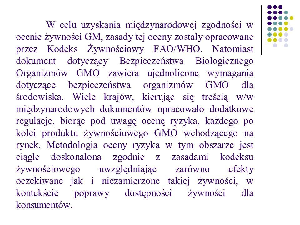 W celu uzyskania międzynarodowej zgodności w ocenie żywności GM, zasady tej oceny zostały opracowane przez Kodeks Żywnościowy FAO/WHO.
