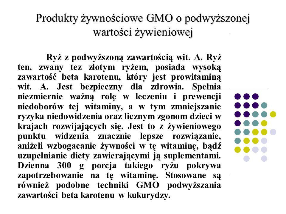 Produkty żywnościowe GMO o podwyższonej wartości żywieniowej