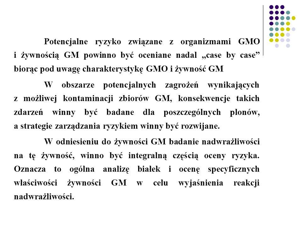 """Potencjalne ryzyko związane z organizmami GMO i żywnością GM powinno być oceniane nadal """"case by case biorąc pod uwagę charakterystykę GMO i żywność GM"""