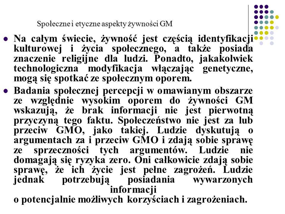 Społeczne i etyczne aspekty żywności GM