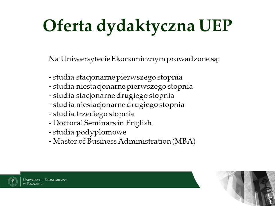 Oferta dydaktyczna UEP