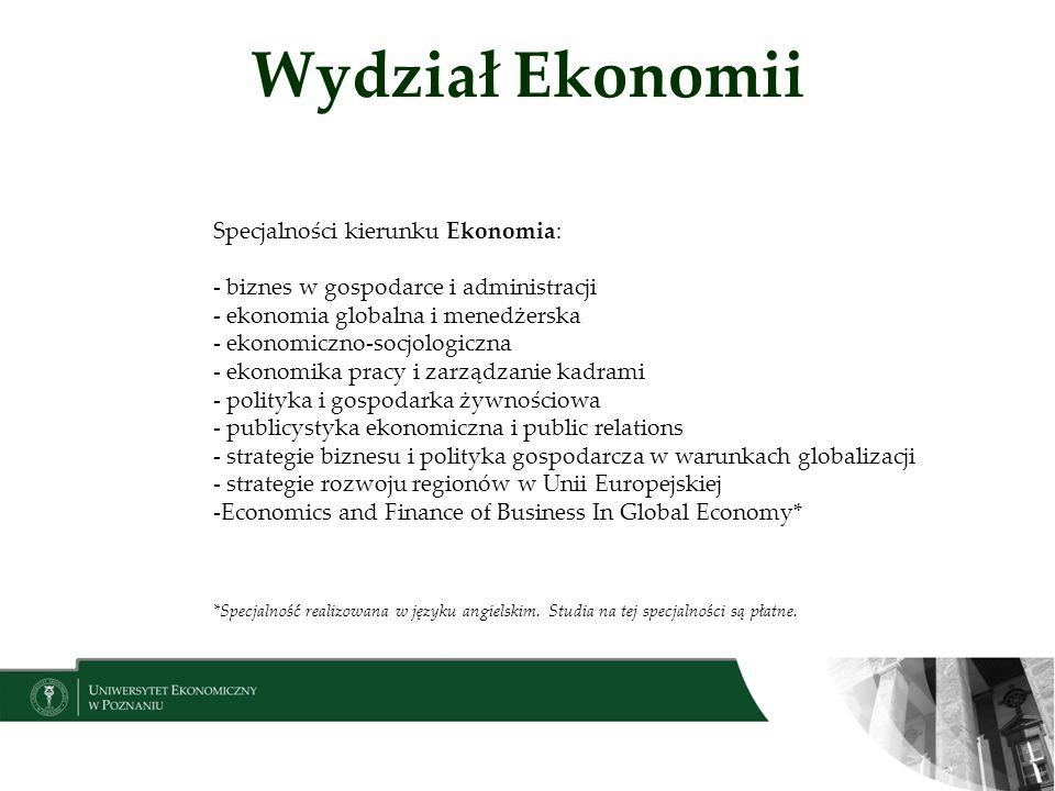 Wydział Ekonomii Specjalności kierunku Ekonomia: