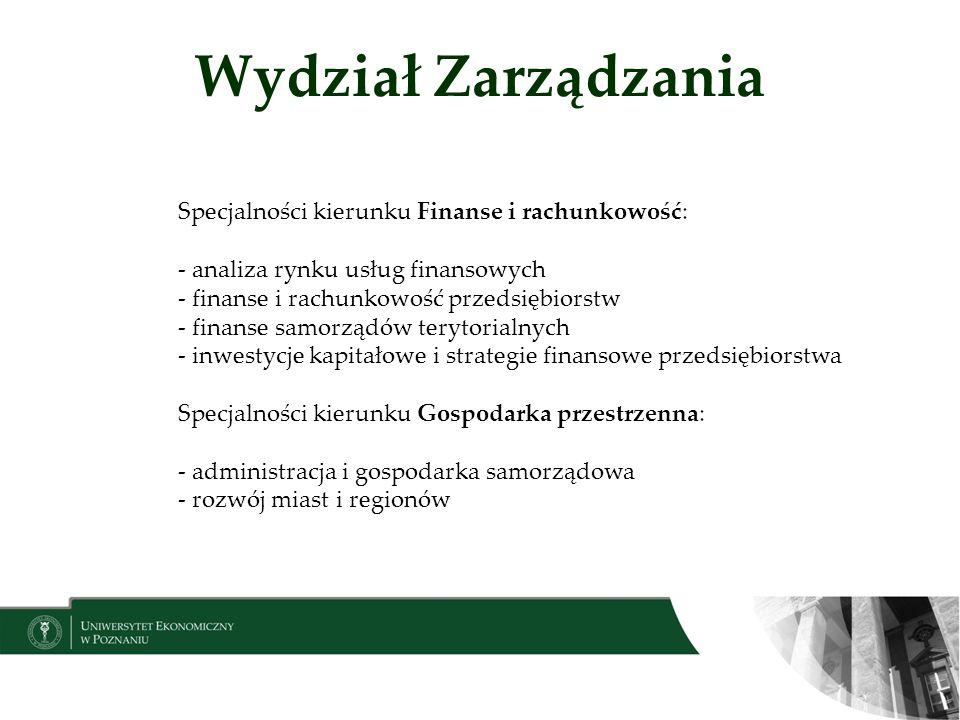 Wydział Zarządzania Specjalności kierunku Finanse i rachunkowość: