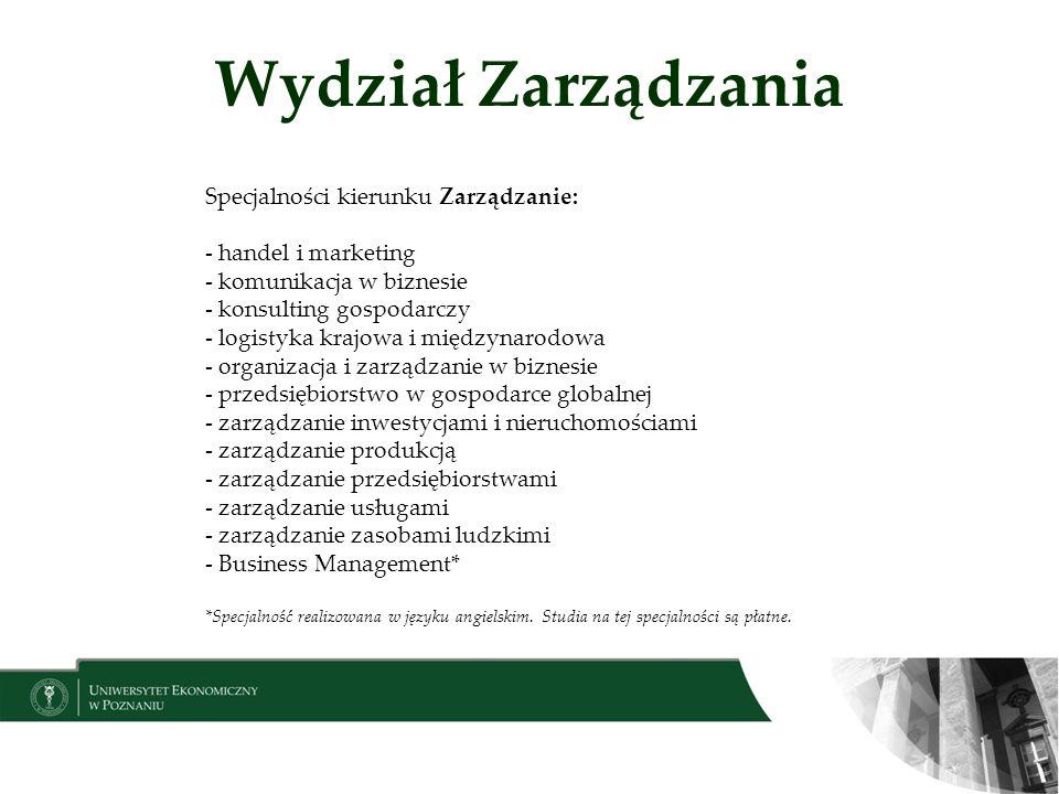 Wydział Zarządzania Specjalności kierunku Zarządzanie: