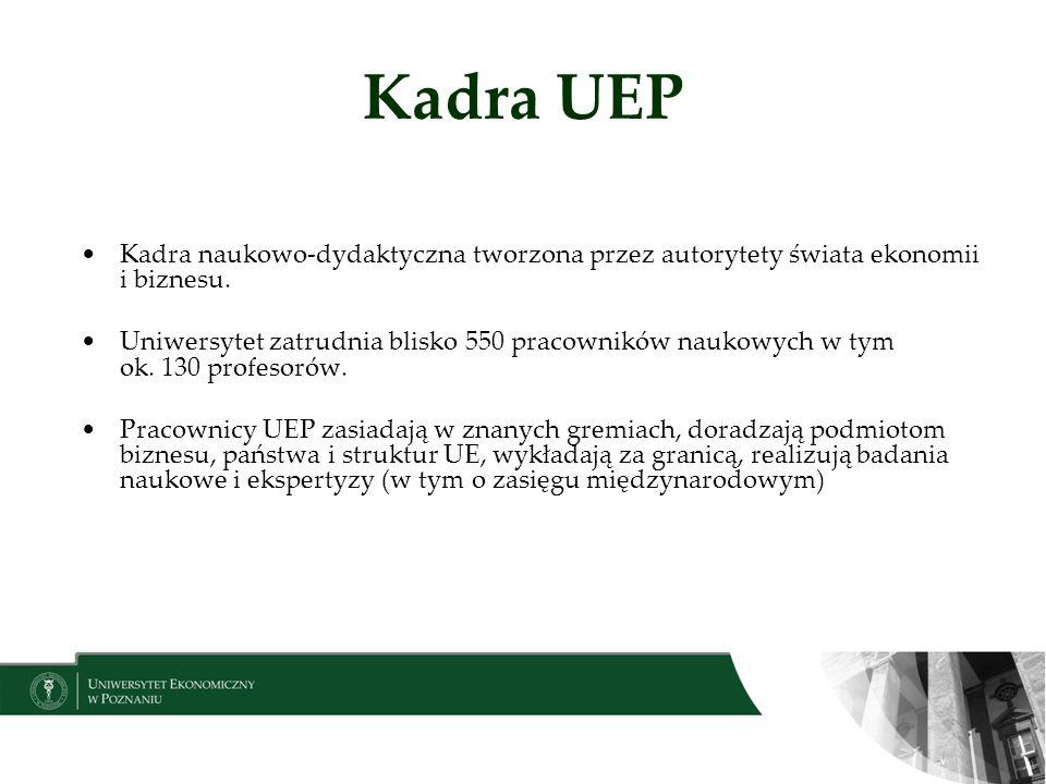 Kadra UEP Kadra naukowo-dydaktyczna tworzona przez autorytety świata ekonomii i biznesu.