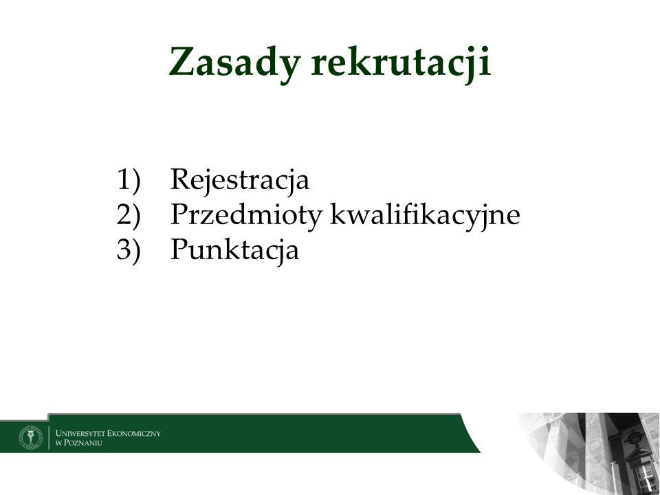 Zasady rekrutacji Rejestracja Przedmioty kwalifikacyjne Punktacja