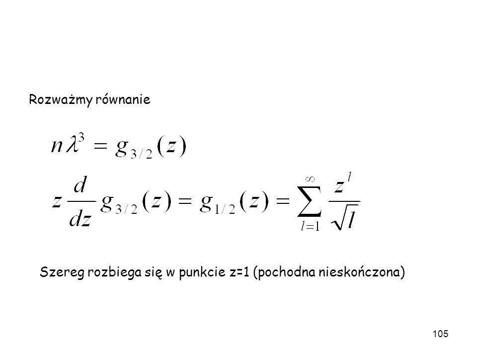 Rozważmy równanie Szereg rozbiega się w punkcie z=1 (pochodna nieskończona)