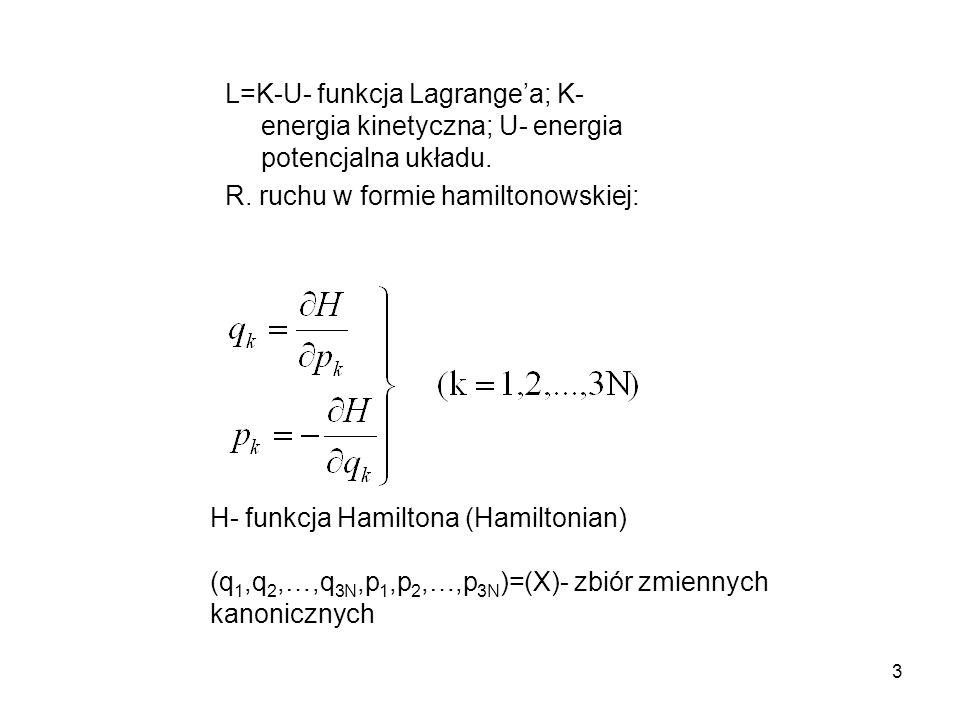L=K-U- funkcja Lagrange'a; K- energia kinetyczna; U- energia potencjalna układu.