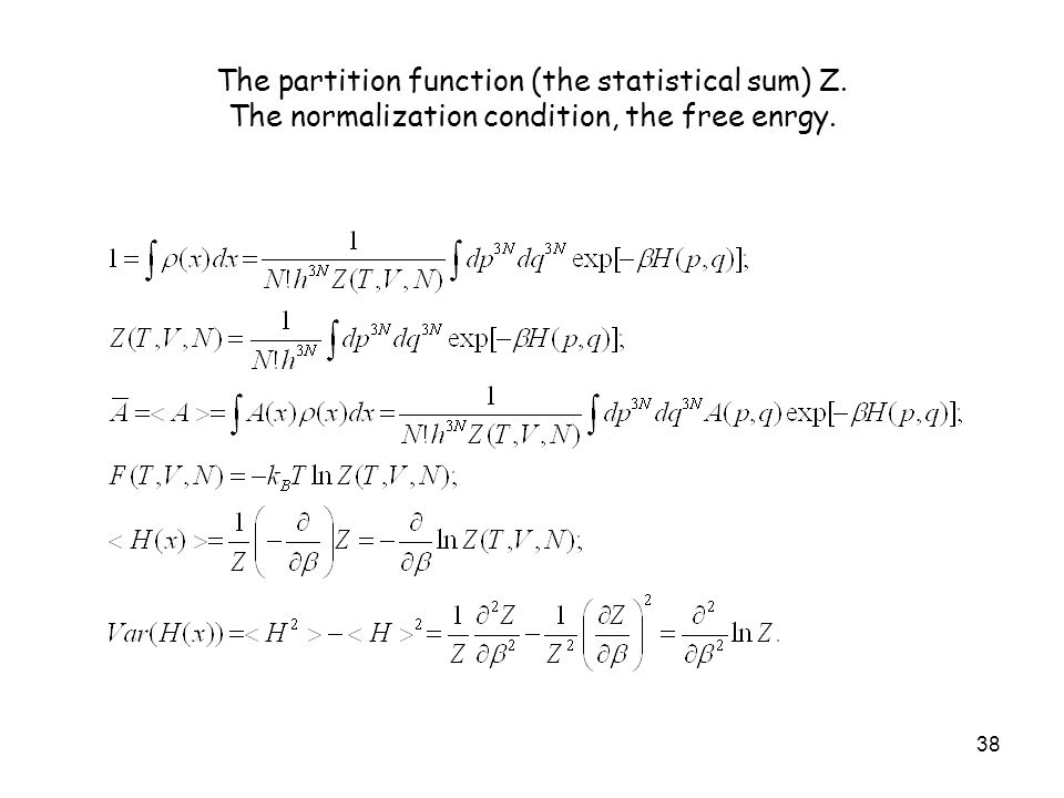 The partition function (the statistical sum) Z
