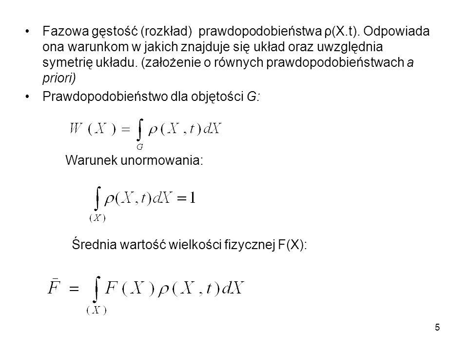 Fazowa gęstość (rozkład) prawdopodobieństwa ρ(X. t)
