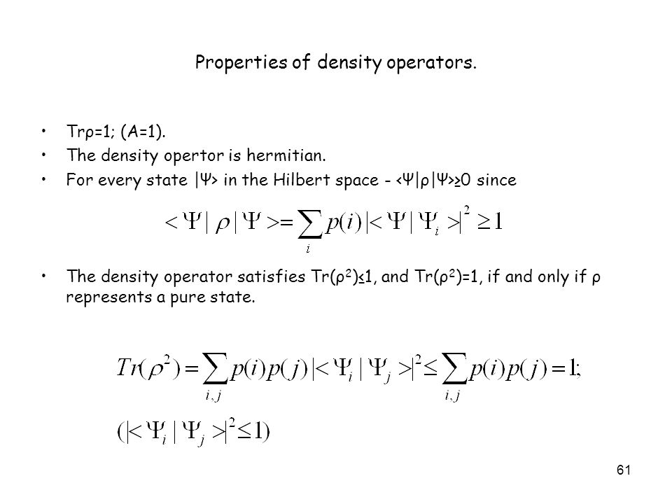 Properties of density operators.