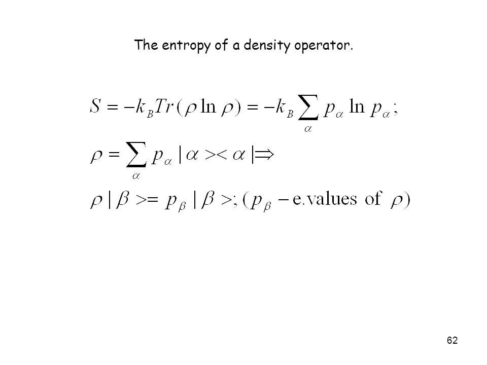 The entropy of a density operator.