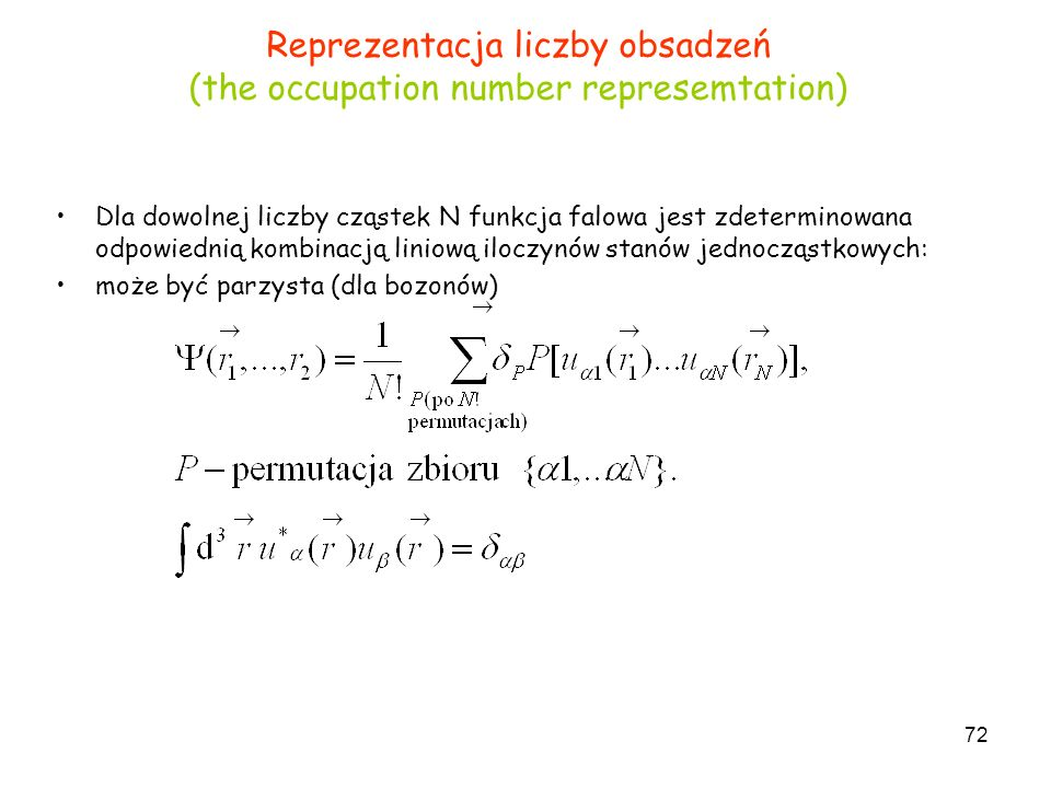 Reprezentacja liczby obsadzeń (the occupation number represemtation)