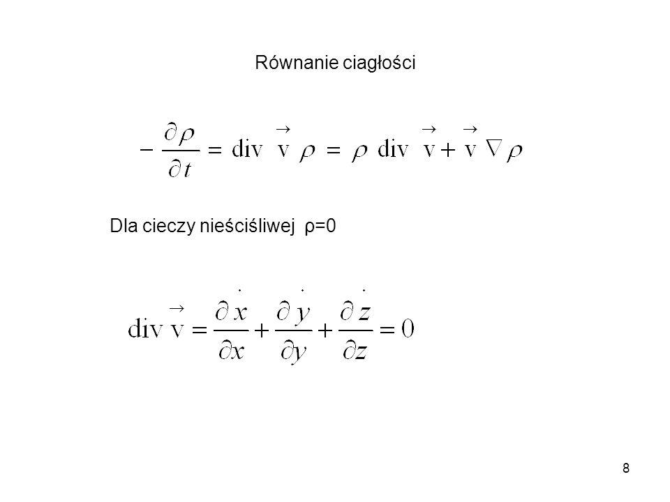 Równanie ciagłości Dla cieczy nieściśliwej ρ=0