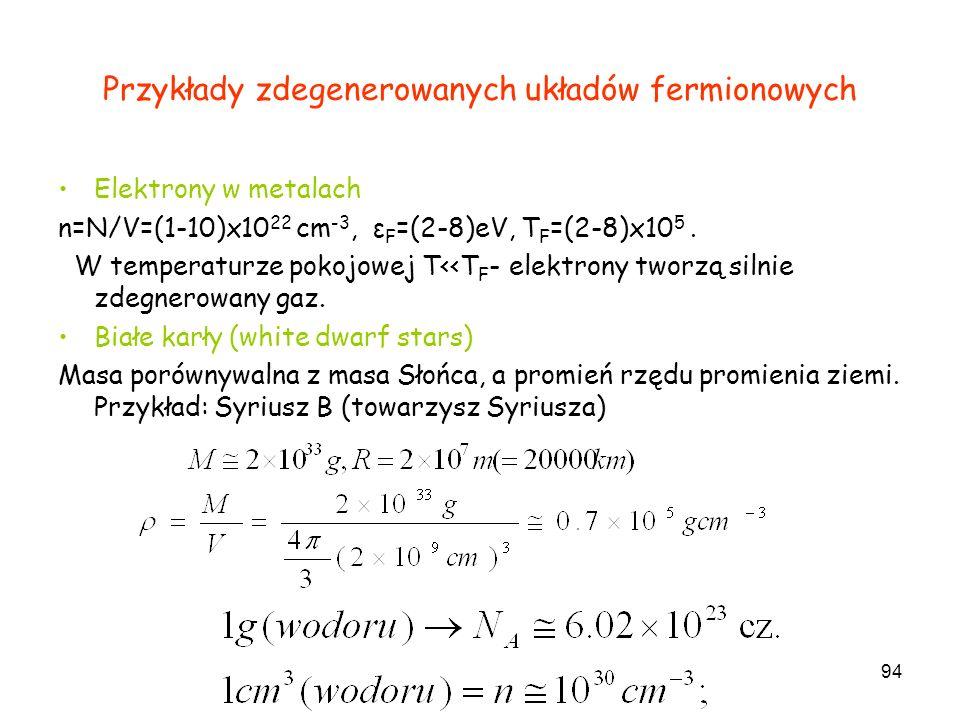 Przykłady zdegenerowanych układów fermionowych