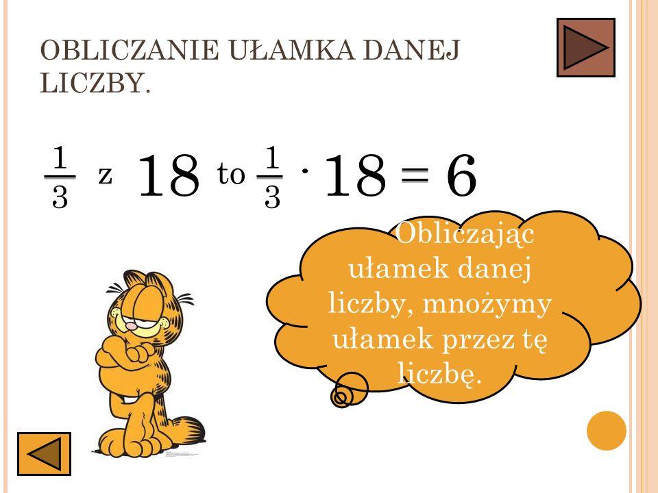 Obliczając ułamek danej liczby, mnożymy ułamek przez tę liczbę.