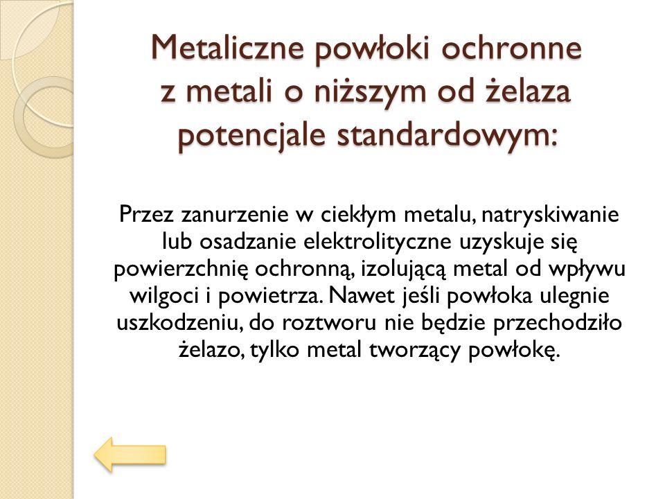 Metaliczne powłoki ochronne z metali o niższym od żelaza potencjale standardowym: