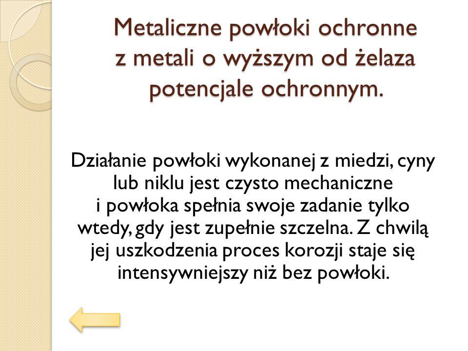 Metaliczne powłoki ochronne z metali o wyższym od żelaza potencjale ochronnym.