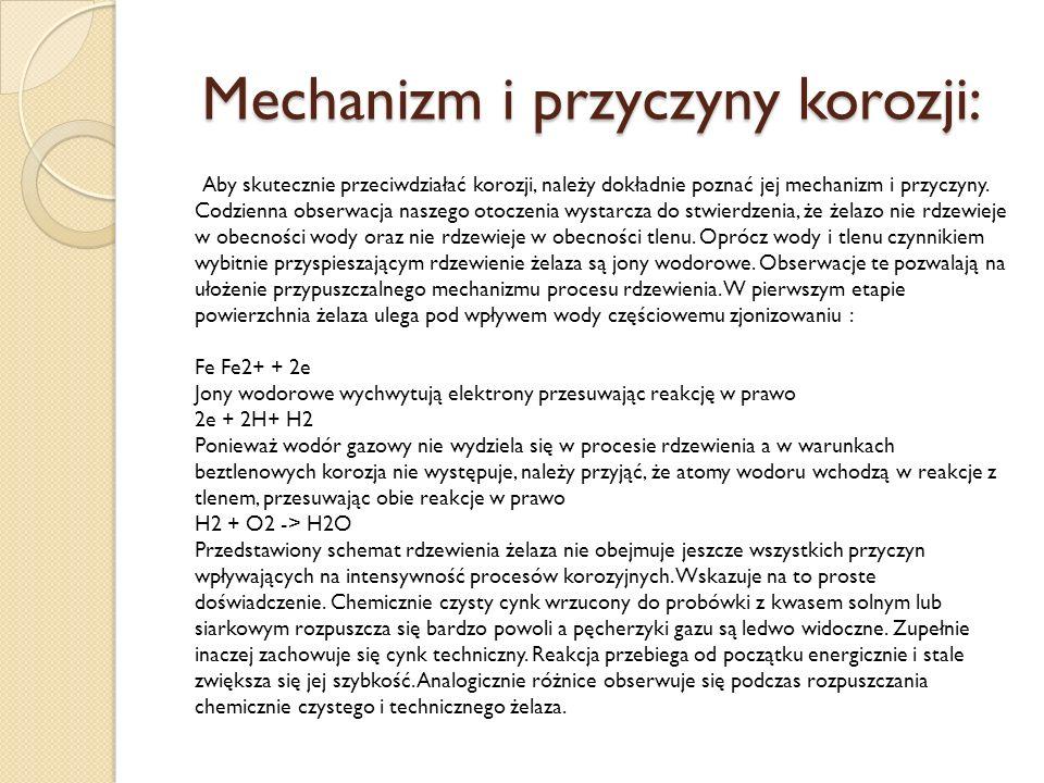 Mechanizm i przyczyny korozji: