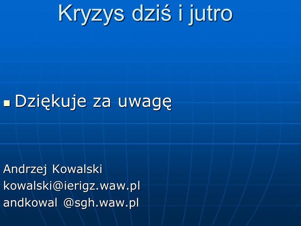 Kryzys dziś i jutro Dziękuje za uwagę Andrzej Kowalski