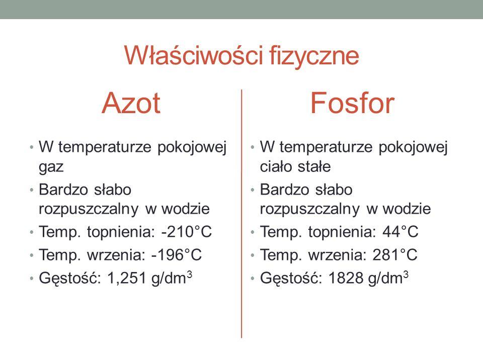 Azot Fosfor Właściwości fizyczne W temperaturze pokojowej gaz
