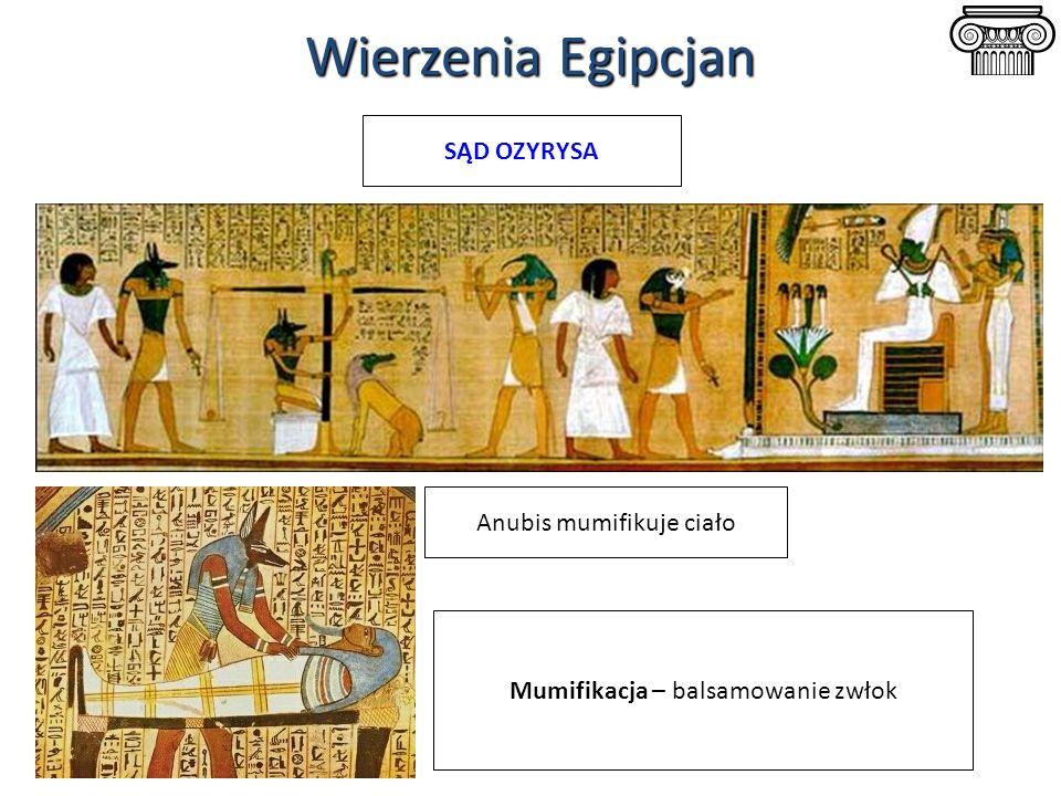 Wierzenia Egipcjan SĄD OZYRYSA Anubis mumifikuje ciało