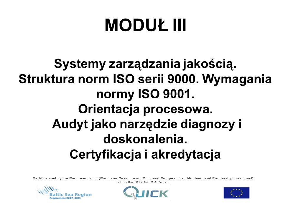 MODUŁ III Systemy zarządzania jakością. Struktura norm ISO serii 9000