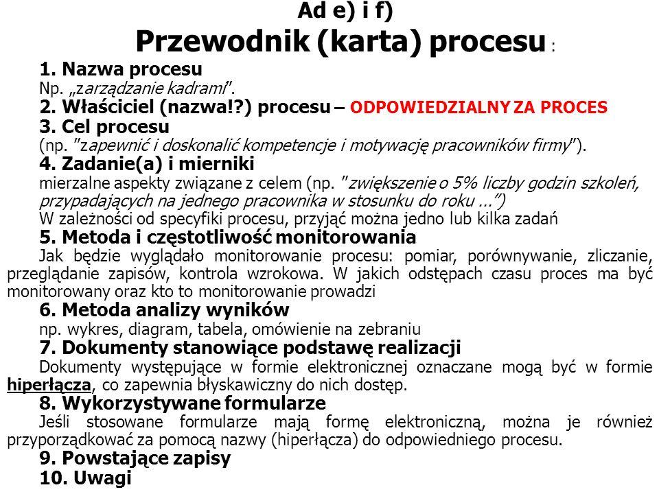 Przewodnik (karta) procesu :