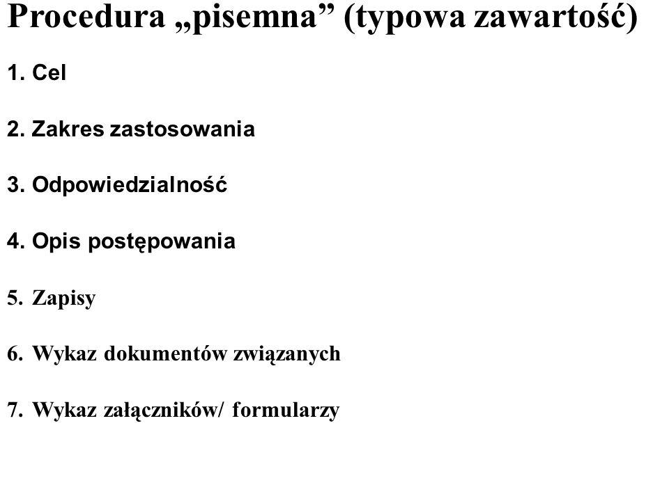 """Procedura """"pisemna (typowa zawartość)"""