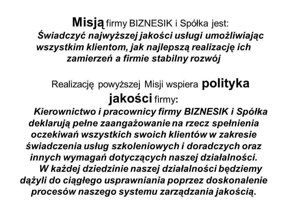 Misją firmy BIZNESIK i Spółka jest: