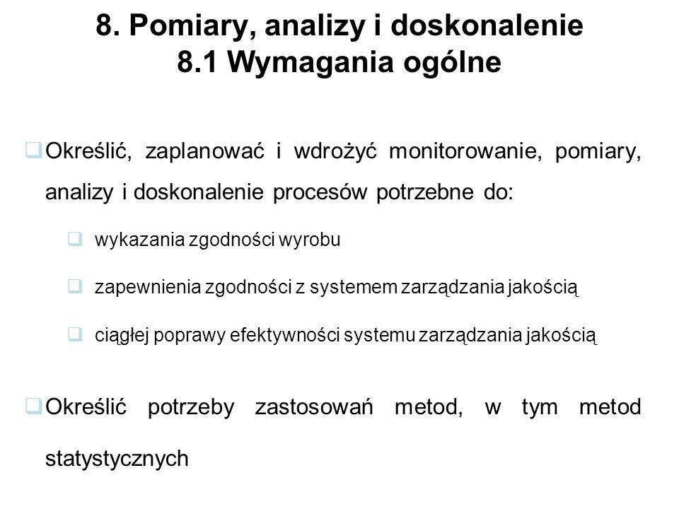 8. Pomiary, analizy i doskonalenie 8.1 Wymagania ogólne
