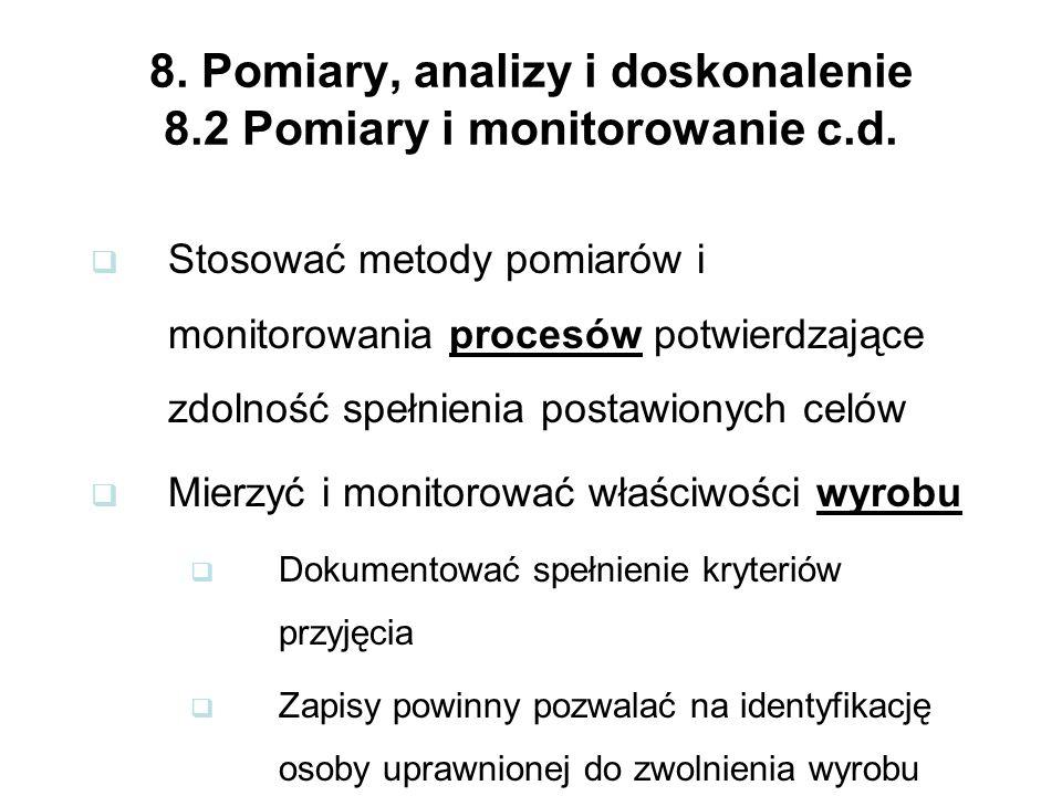 8. Pomiary, analizy i doskonalenie 8.2 Pomiary i monitorowanie c.d.