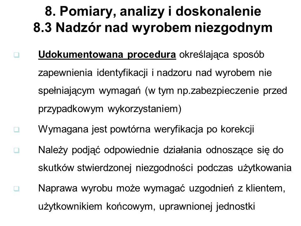 8. Pomiary, analizy i doskonalenie 8.3 Nadzór nad wyrobem niezgodnym