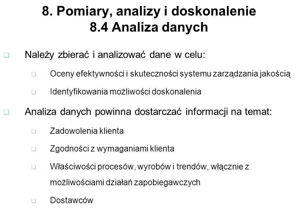8. Pomiary, analizy i doskonalenie 8.4 Analiza danych