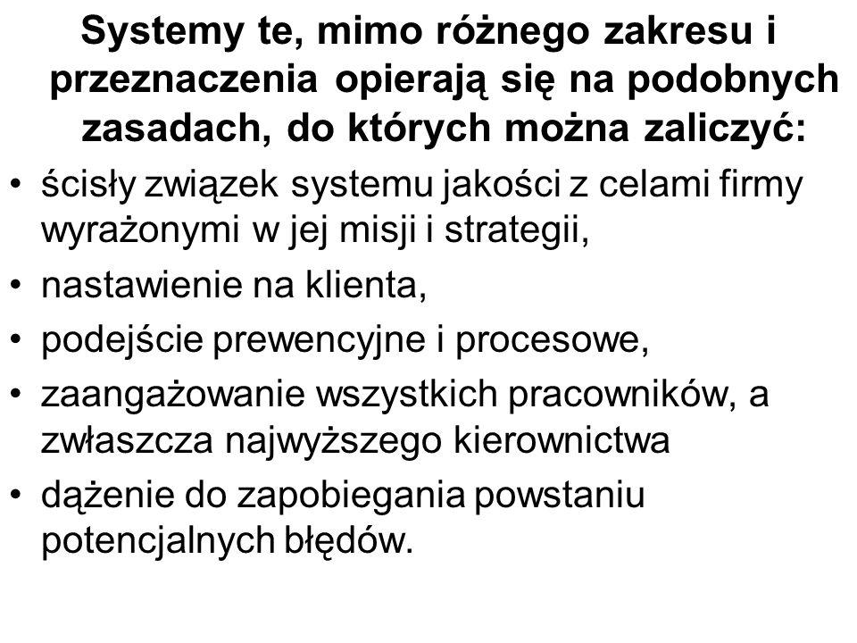 Systemy te, mimo różnego zakresu i przeznaczenia opierają się na podobnych zasadach, do których można zaliczyć: