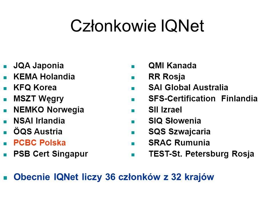 Członkowie IQNet Obecnie IQNet liczy 36 członków z 32 krajów