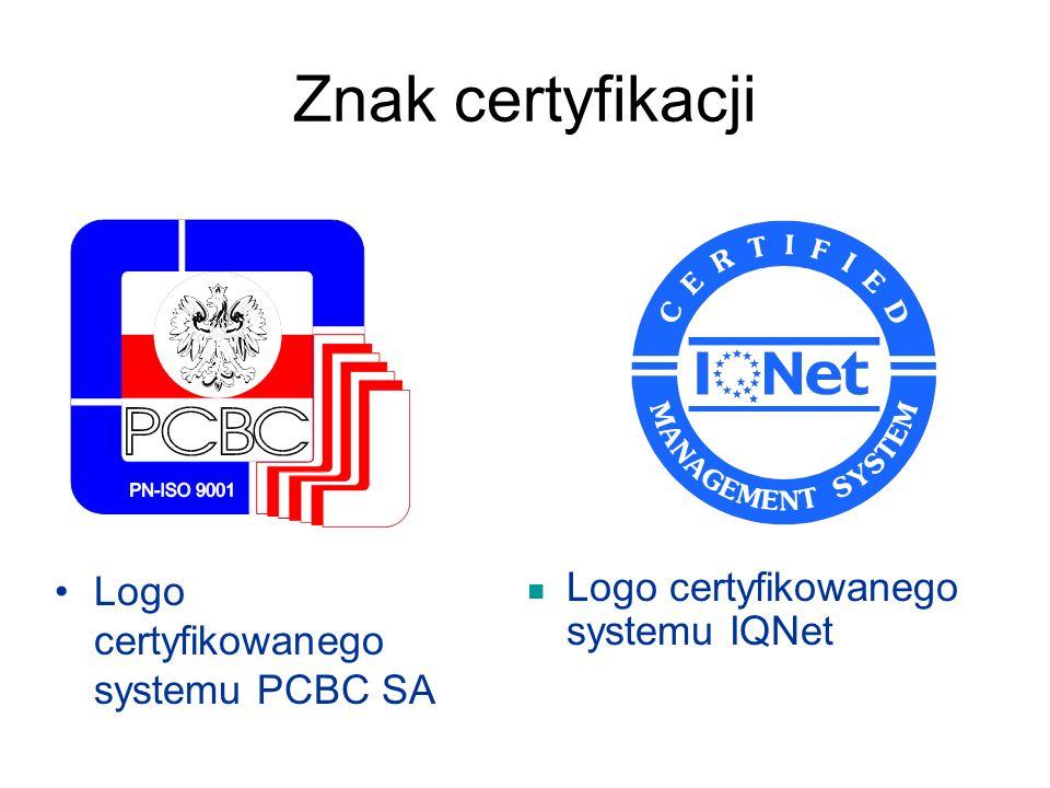 Znak certyfikacji Logo certyfikowanego systemu PCBC SA