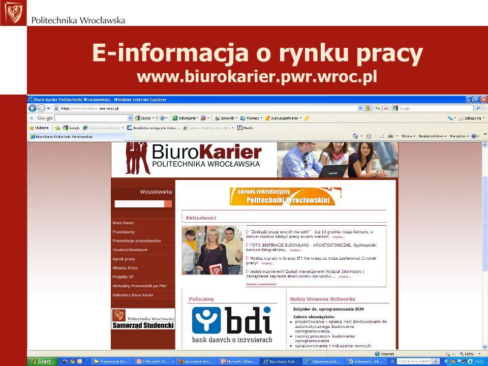 E-informacja o rynku pracy www.biurokarier.pwr.wroc.pl