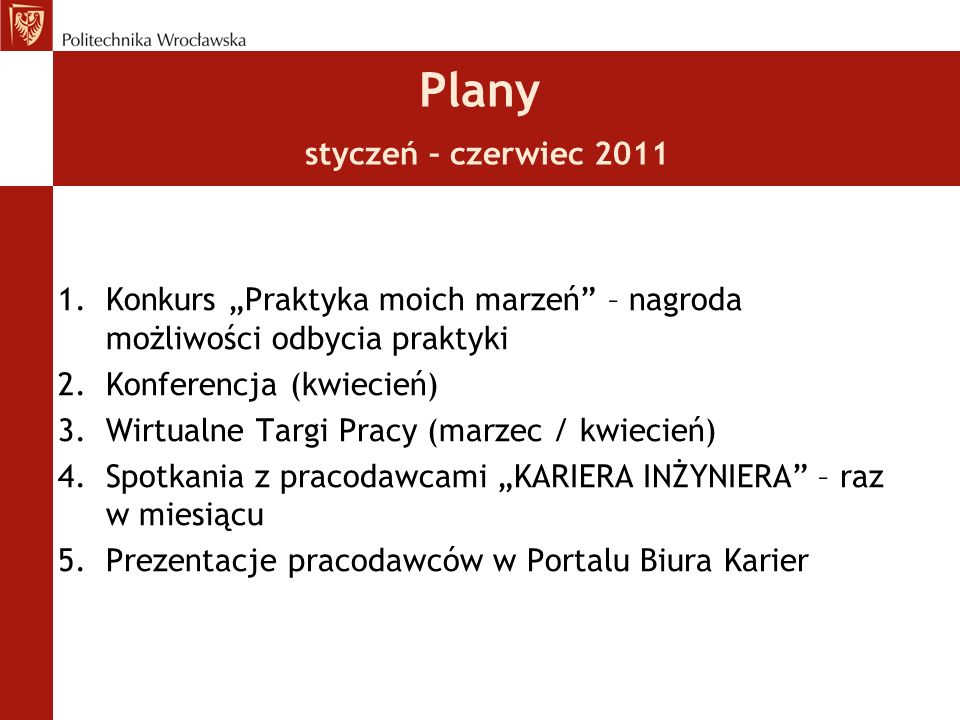Plany styczeń – czerwiec 2011