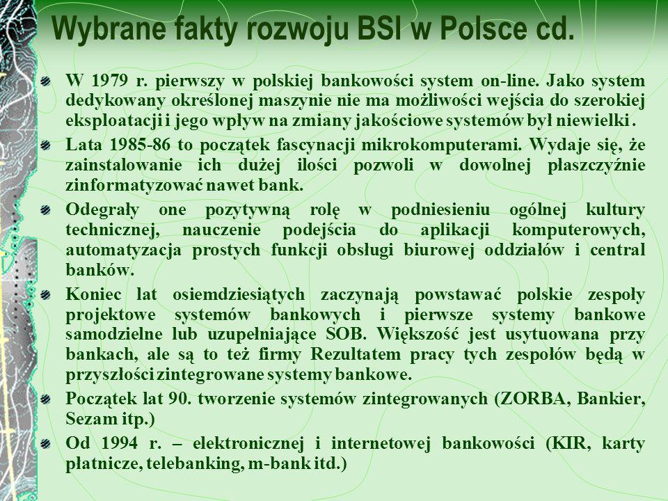 Wybrane fakty rozwoju BSI w Polsce cd.