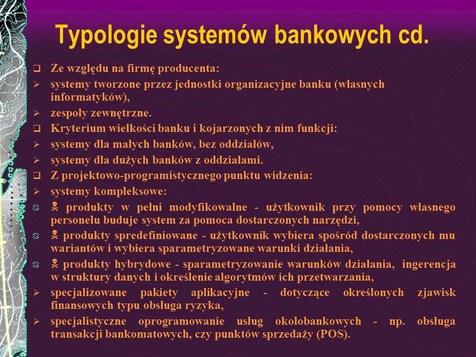 Typologie systemów bankowych cd.
