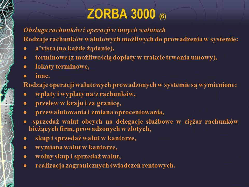 ZORBA 3000 (6) Obsługa rachunków i operacji w innych walutach