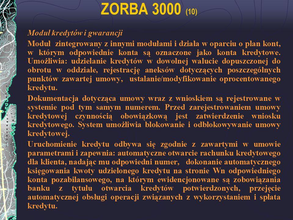 ZORBA 3000 (10) Moduł kredytów i gwarancji