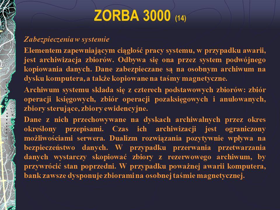 ZORBA 3000 (14) Zabezpieczenia w systemie
